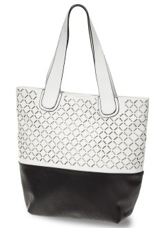 Shopper bicolore découpe laser, bpc bonprix collection, noir/blanc