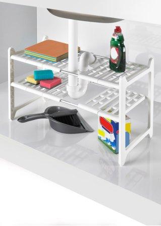 rangement sous vier extensible blanc bpc living. Black Bedroom Furniture Sets. Home Design Ideas