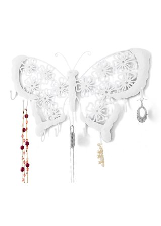 le porte bijoux mural papillon blanc chaussures accessoires bpc living. Black Bedroom Furniture Sets. Home Design Ideas