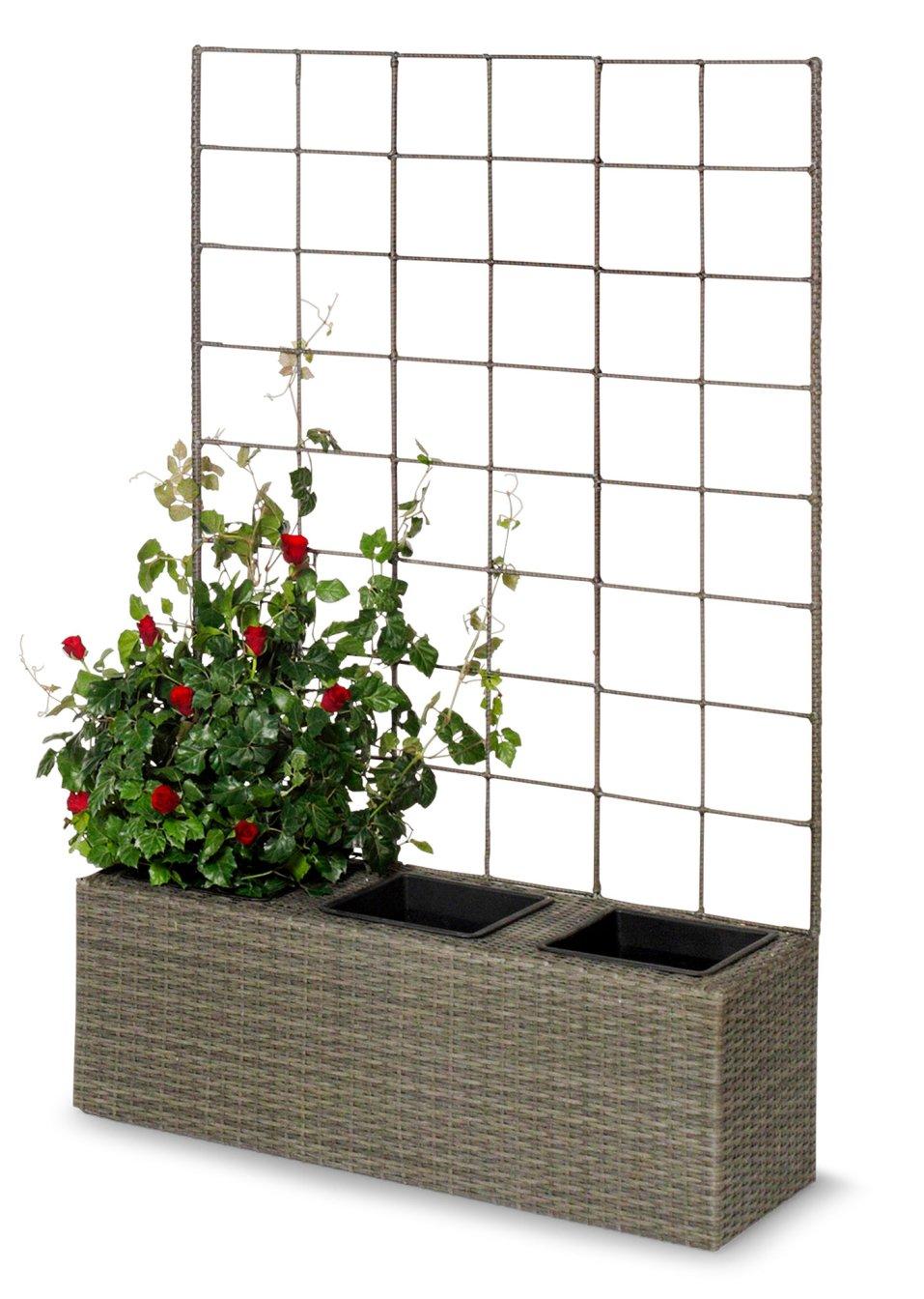 bac fleurs avec treillis paros 3 pots gris bpc living acheter online. Black Bedroom Furniture Sets. Home Design Ideas