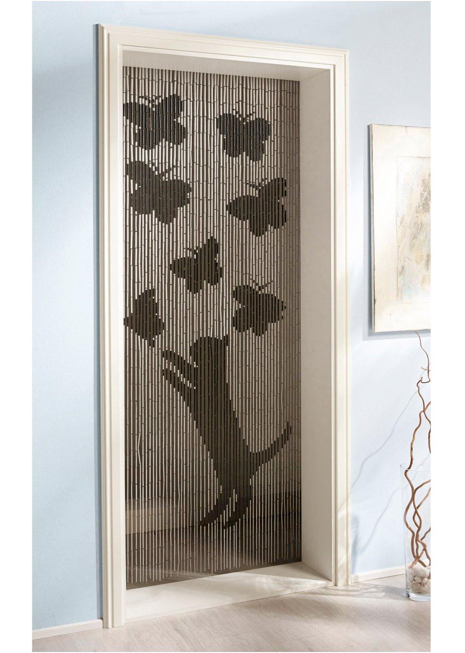 rideau de porte en bambou chat papillon noir blanc bpc. Black Bedroom Furniture Sets. Home Design Ideas
