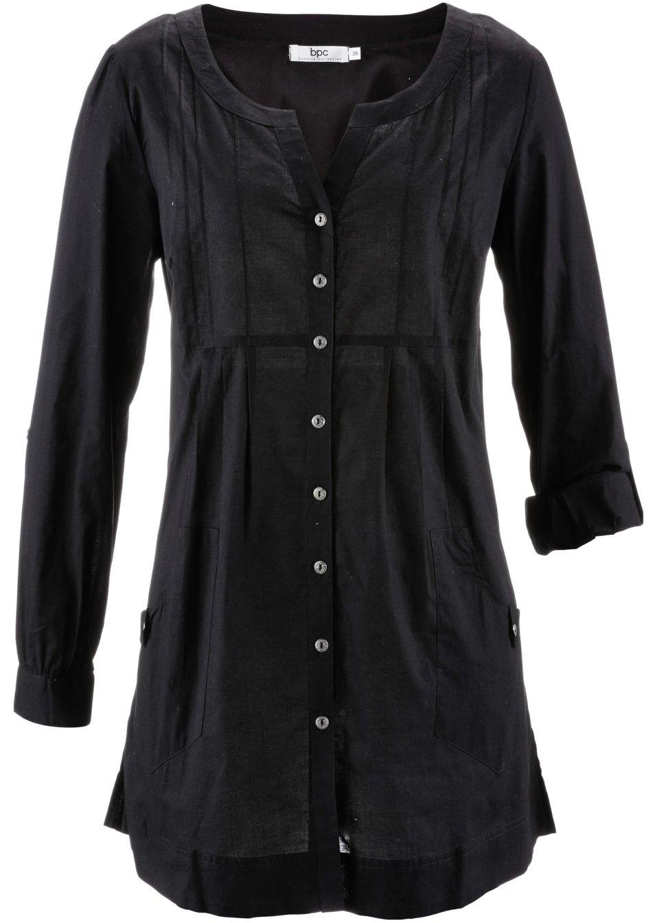 chemisier manches longues noir bpc bonprix collection acheter online. Black Bedroom Furniture Sets. Home Design Ideas