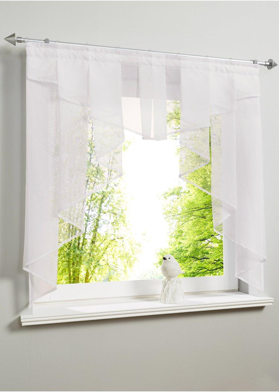 petit voilage de fen tre uni galon fronceur blanc bpc living acheter online. Black Bedroom Furniture Sets. Home Design Ideas