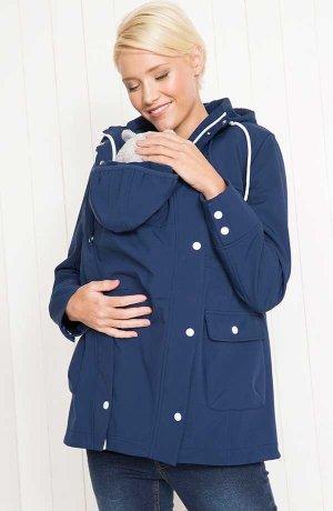 fc4642dc55cb7 Femme - Veste softshell de grossesse avec empiècement pour bébé - bleu nuit