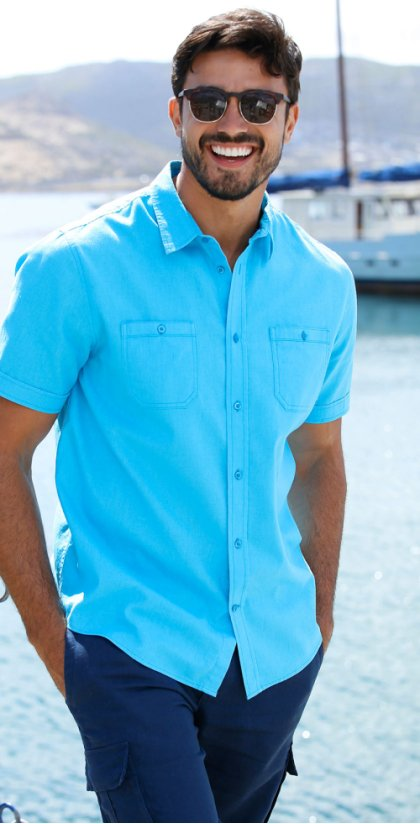 Homme - Chemise manches courtes mélange lin Regular Fit - turquoise