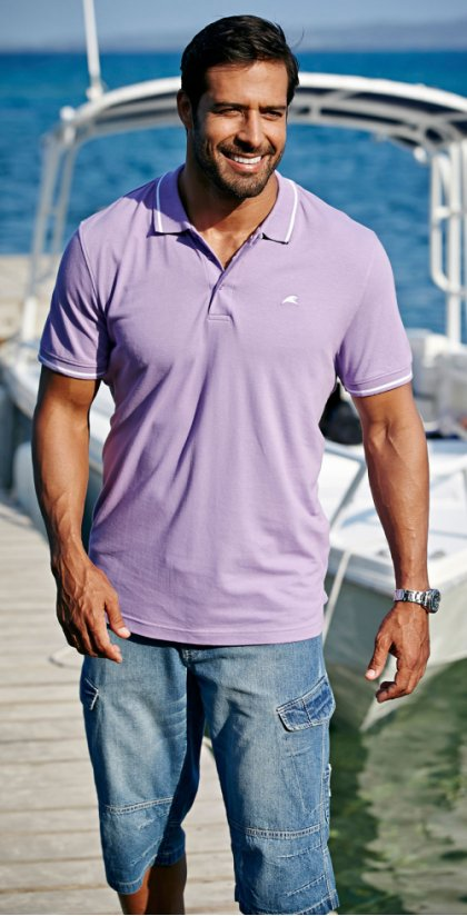 Homme - Polo regular fit - mauve