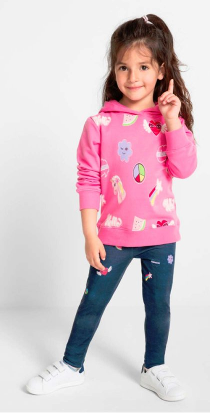 Enfant - Sweat-shirt à capuche - rose flamant imprimé