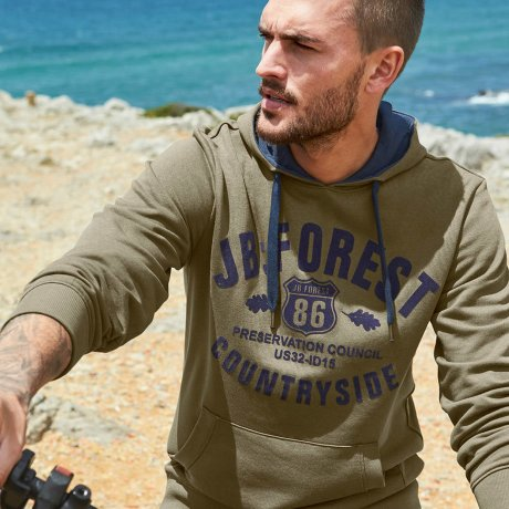 Homme - Sweat-shirt à capuche Regular Fit - olive foncé