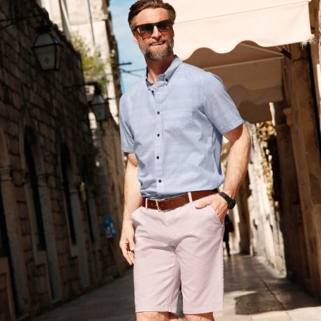 Homme - Bermuda chino Regular Fit - rose pâle