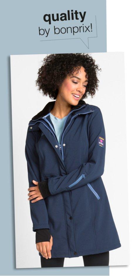 7cf924e216d02c Femme - Veste softshell longue style 2en1 - bleu foncé