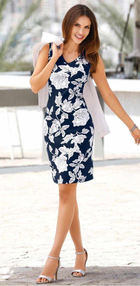 d9b386b95e Femme - Robe matière T-shirt - bleu foncé/blanc imprimé. Robe matière  T-shirt bpc selection