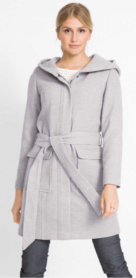 c508c992c321 Femme - Manteau chaud imitation laine - gris clair chiné