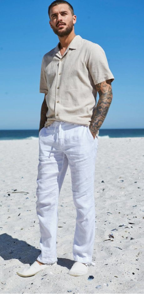 Homme - Pantalon en lin regular fit - blanc