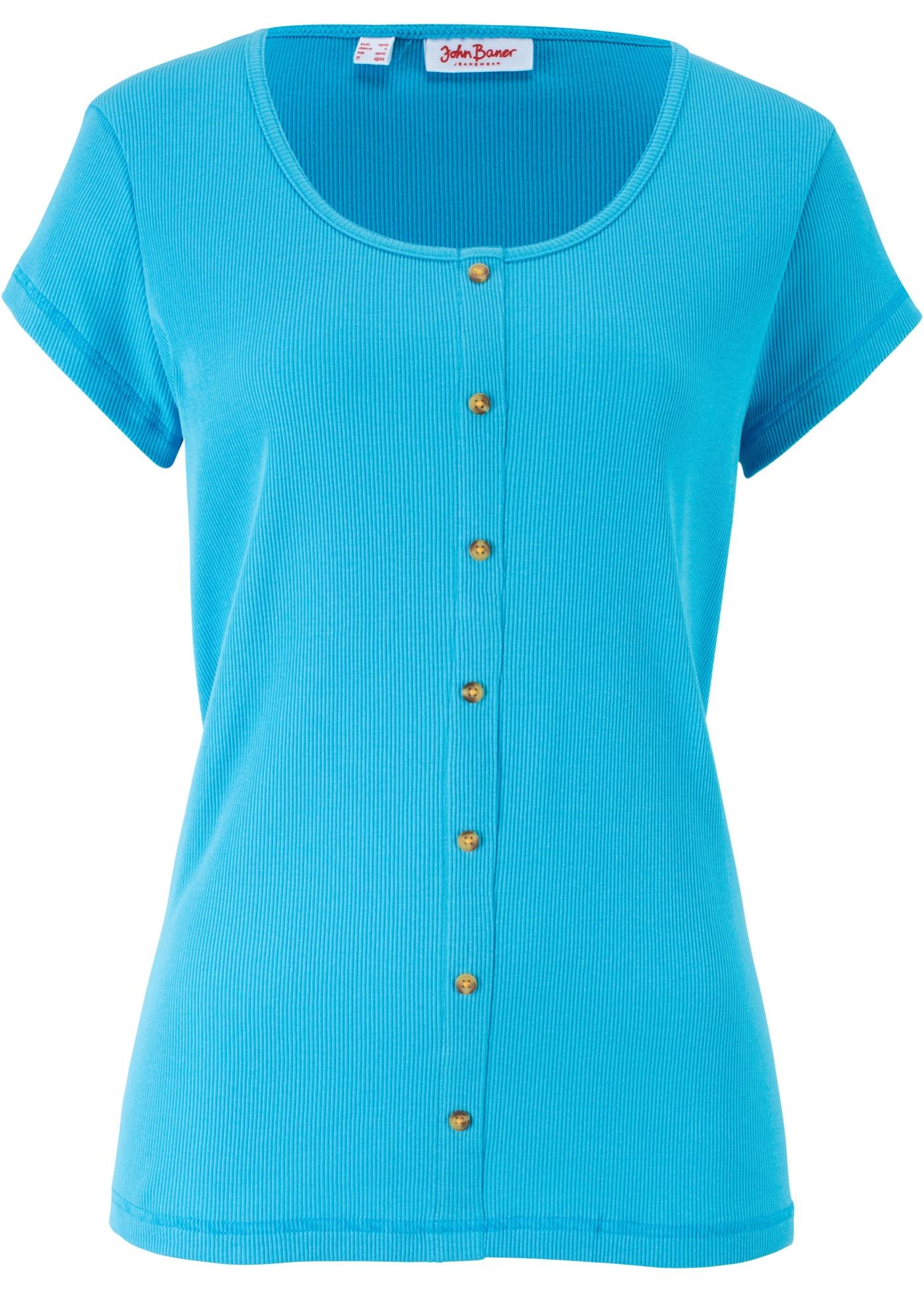 T-shirt coton côtelé à boutons