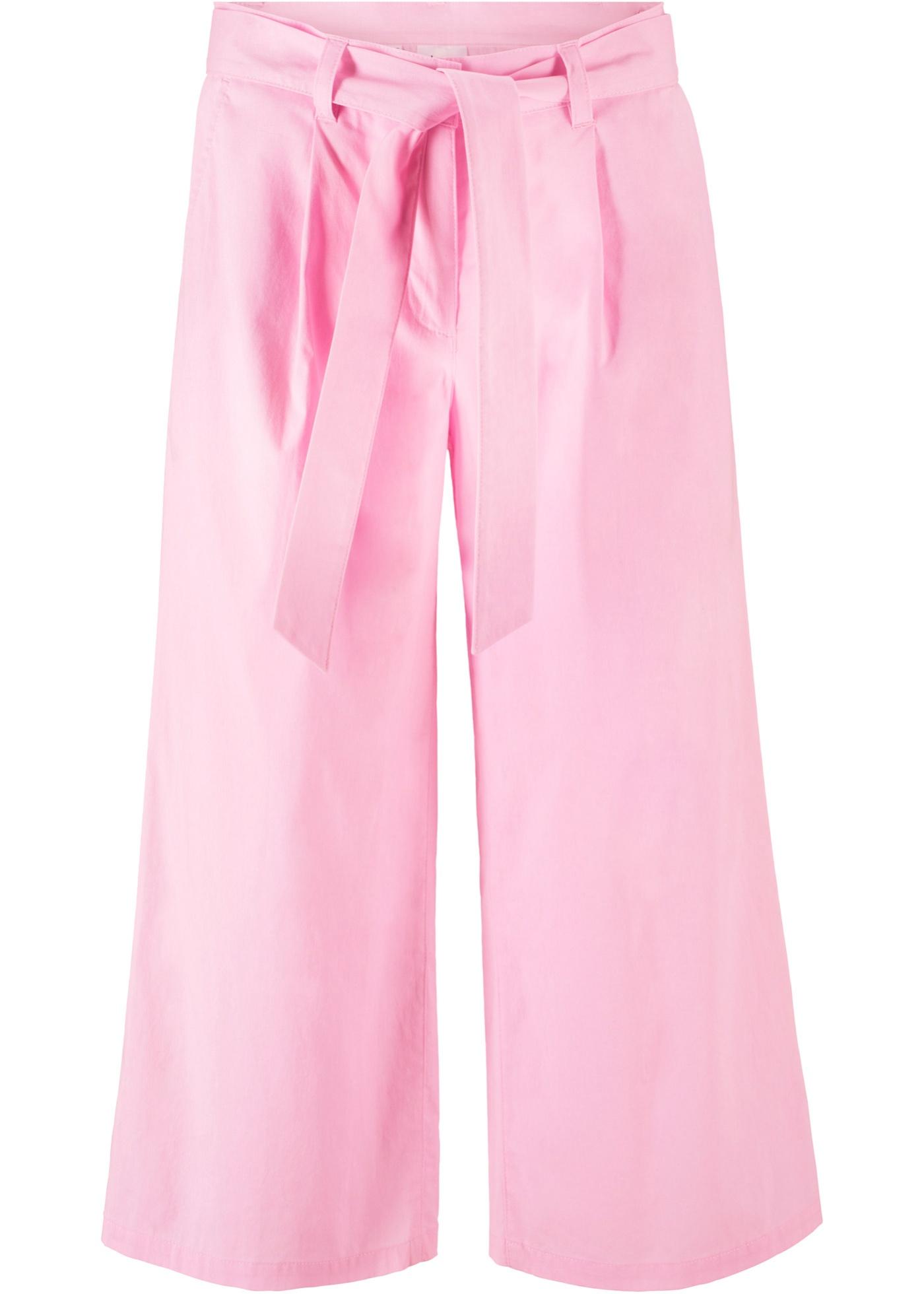 Pantalon 3/4 paper touch avec ceinture à nouer
