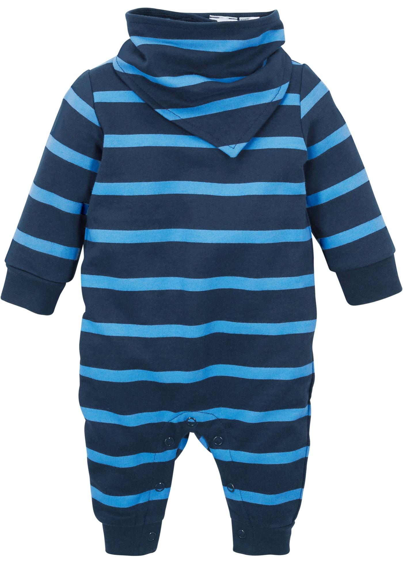 Grenouillère bébé en sweat + foulard (Ens. 2 pces.) coton bio