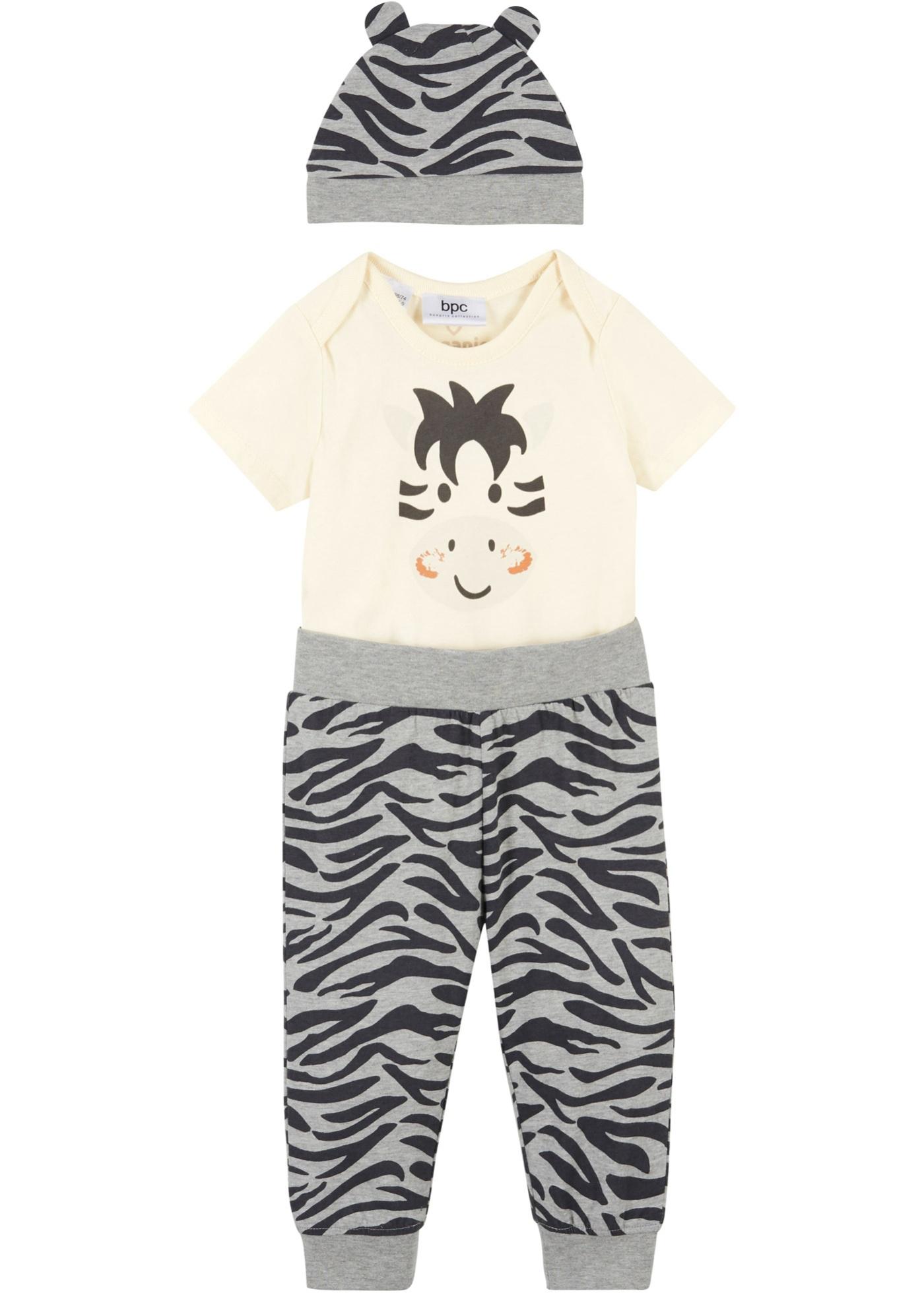 Body bébé manches courtes + pantalon + bonnet (Ens. 3 pces.) coton bio