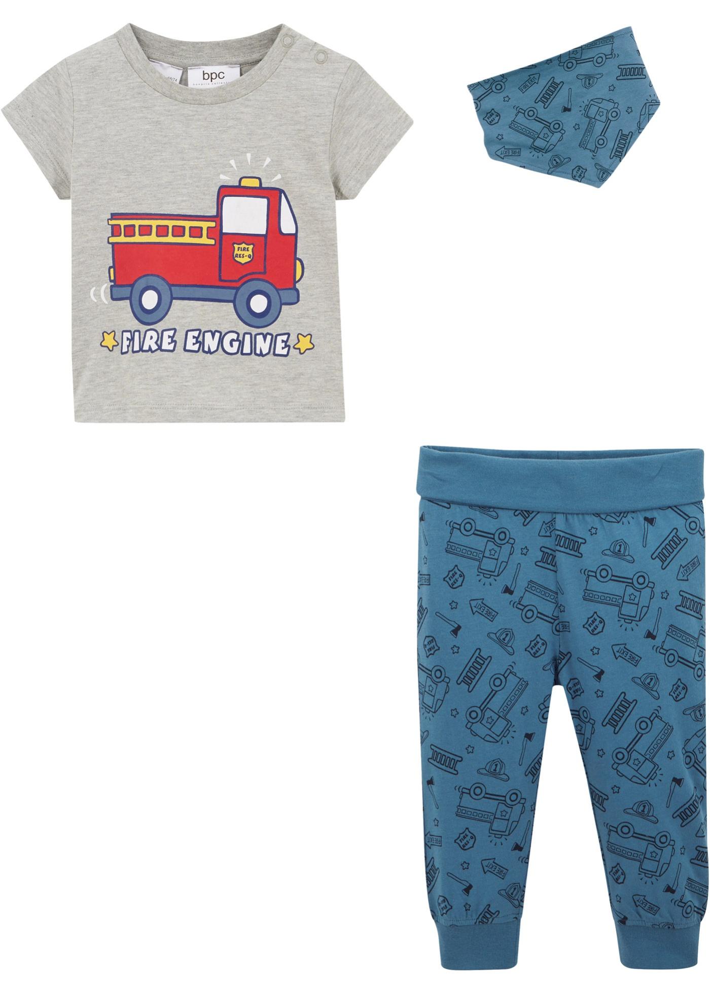 T-shirt bébé + pantalon + foulard (Ens. 3 pces.) coton bio