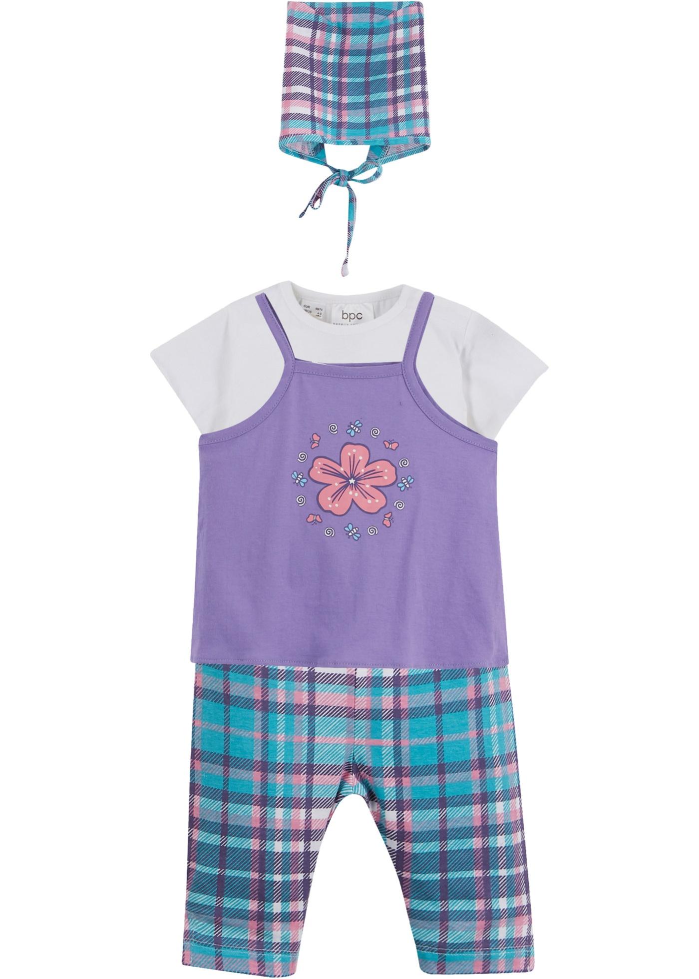 Robe bébé + T-shirt + legging + foulard (Ens. 4 pces.) coton bio
