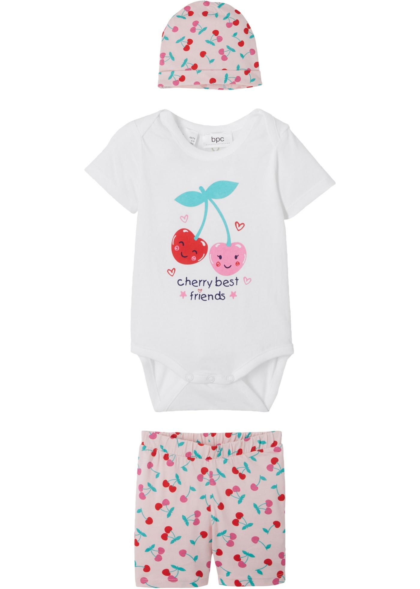 Body bébé + short + bonnet (Ens. 3 pces.) coton bio
