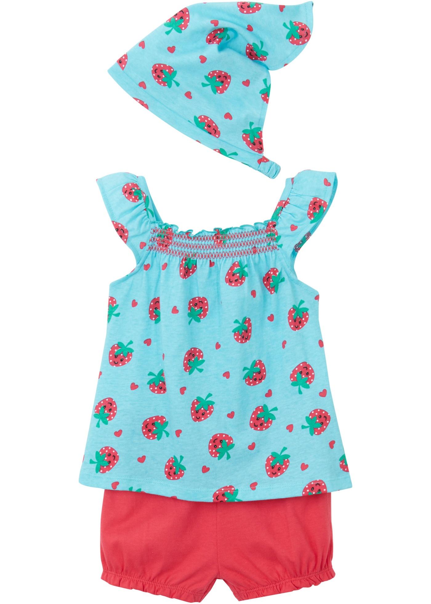 Top bébé, short, foulard (Ens. 3 pces.) coton bio