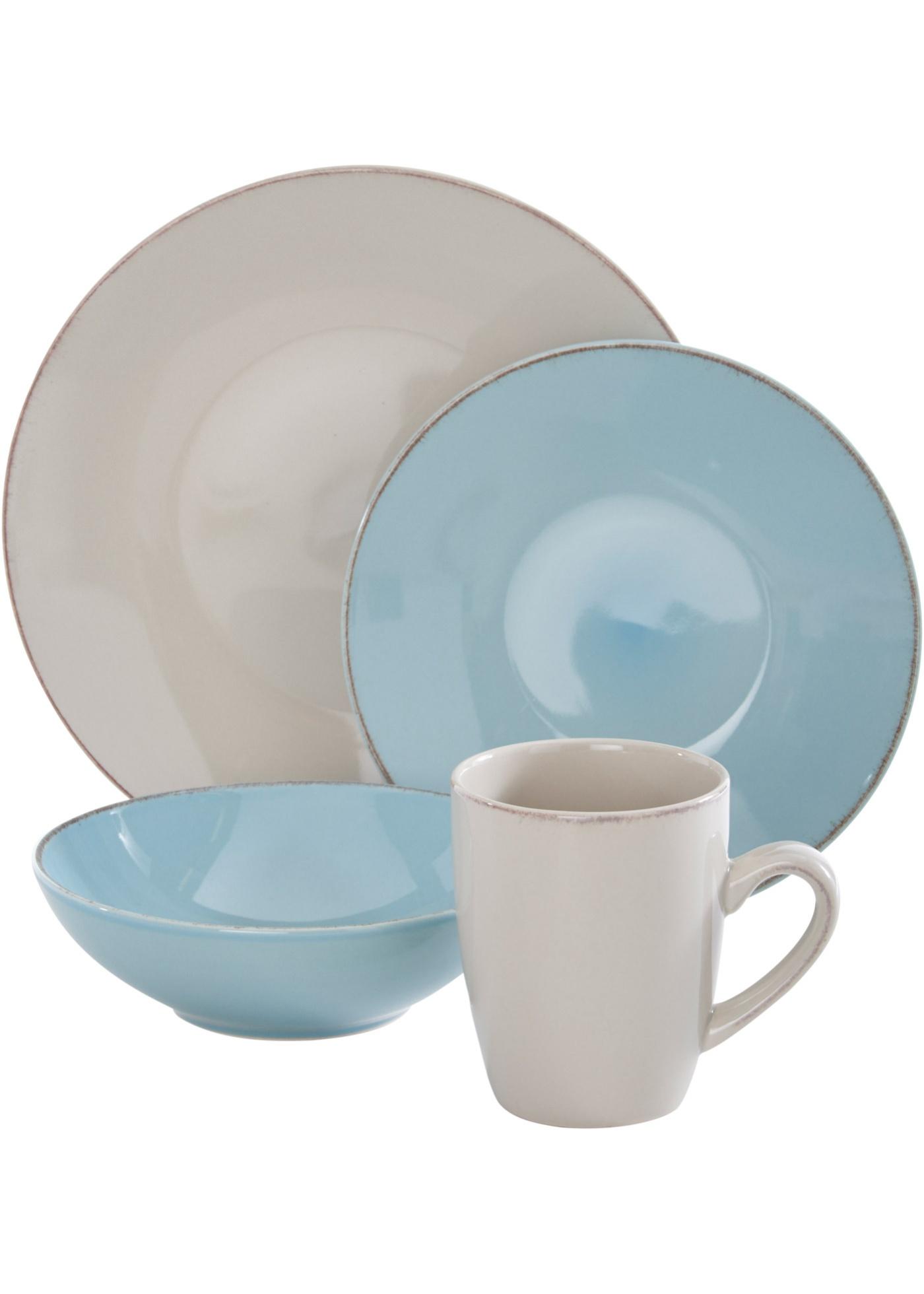 Vaisselle décor vintage (Ens. 16 pces.)