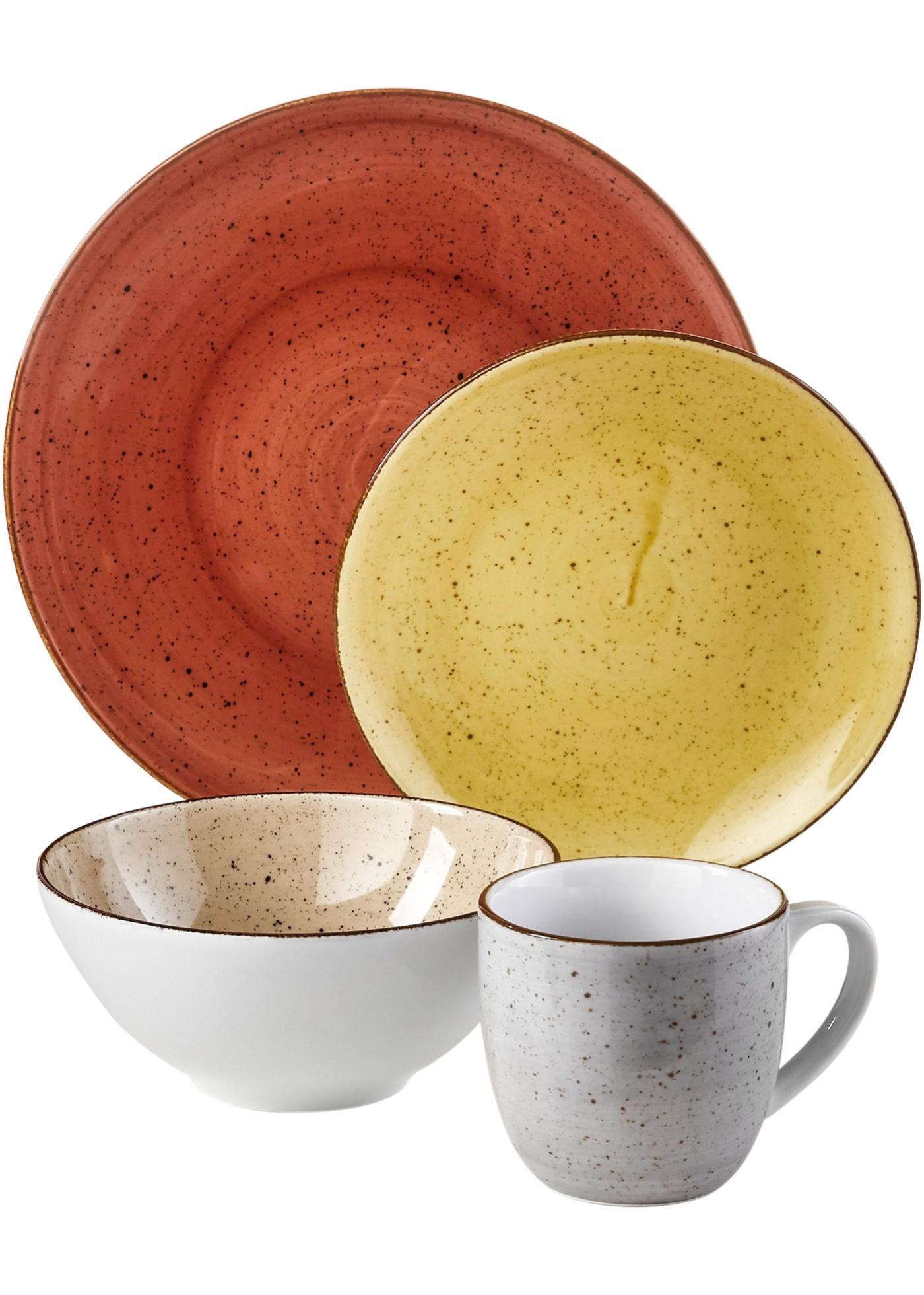 Service vaisselle coloré (Ens. 16 pces.)