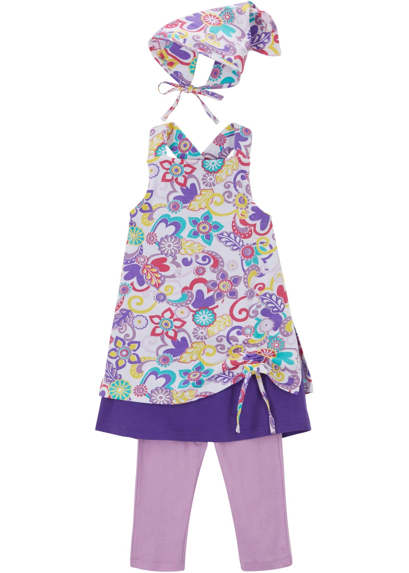 Robe fille, legging, foulard (Ens. 3 pces.)