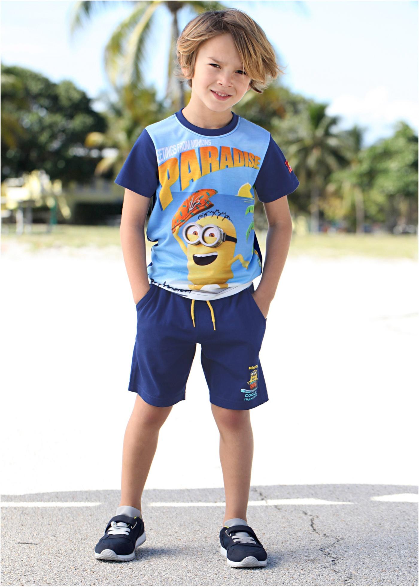 T-shirt + Bermuda MINIONS (Ens. 2 pces.), Despicable Me_TV-Mania, bleu nuit imprimé MINIONS