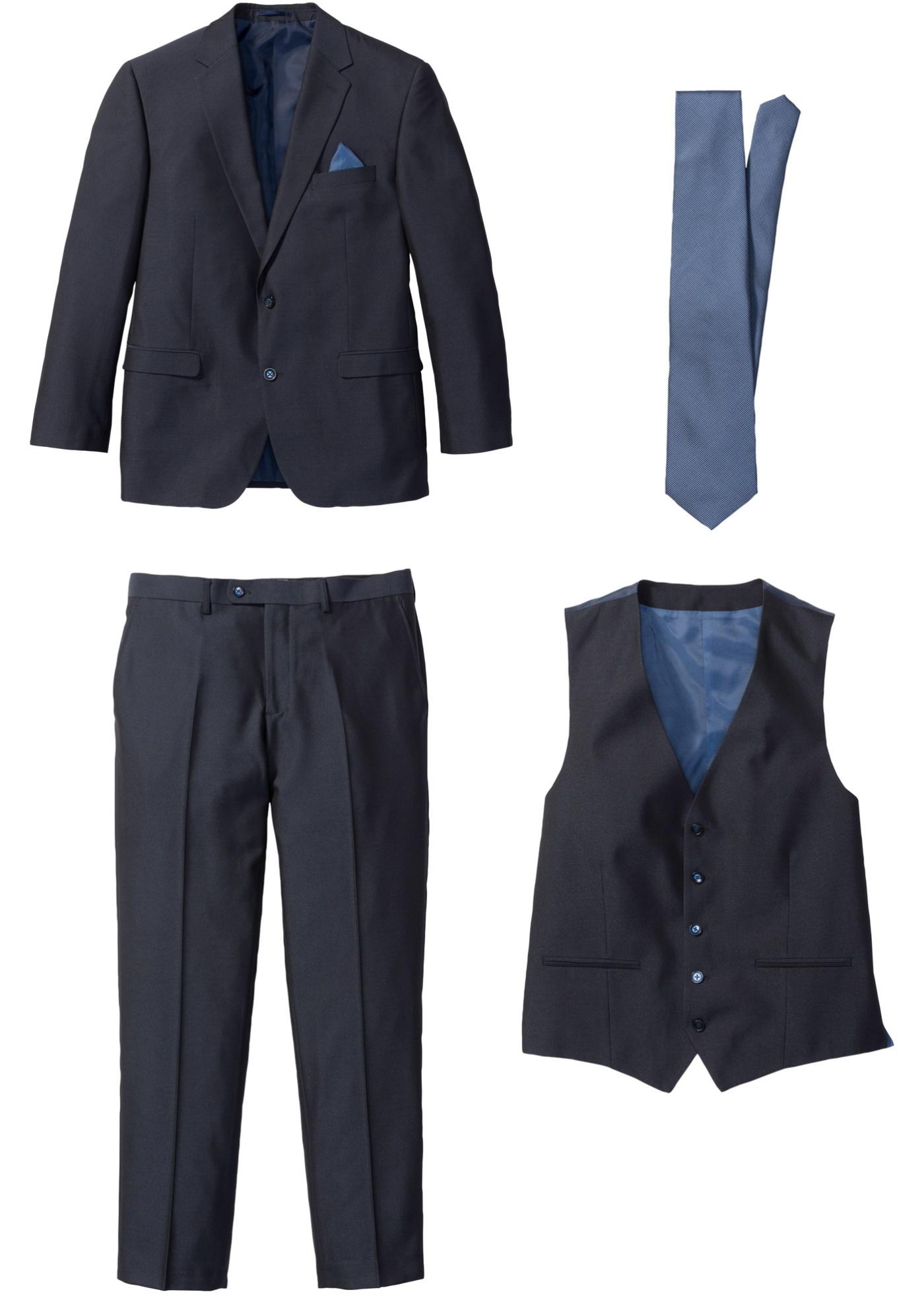 Costume 4 pièces : veste, pantalon, gilet, cravate