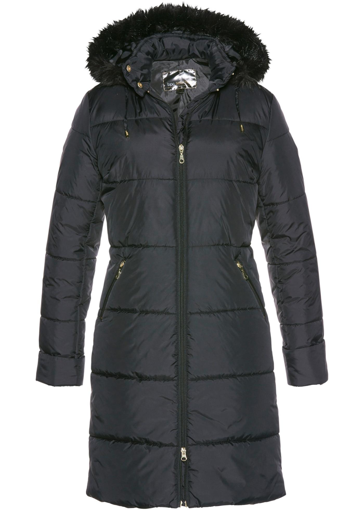 Manteau matelassé avec capuche en synthétique imitation fourrure