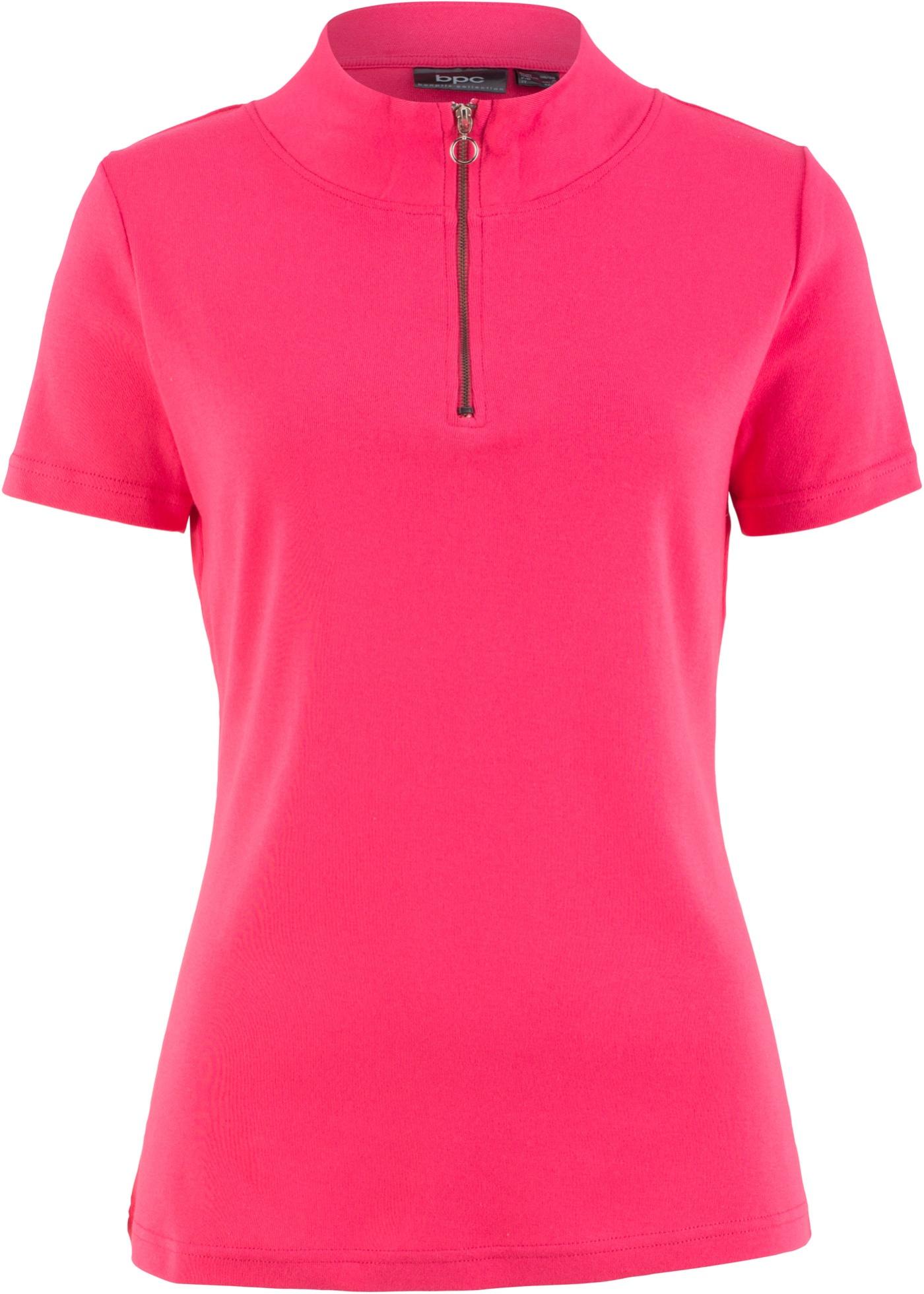 T-shirt côtelé manches courtes avec zip, 100% coton