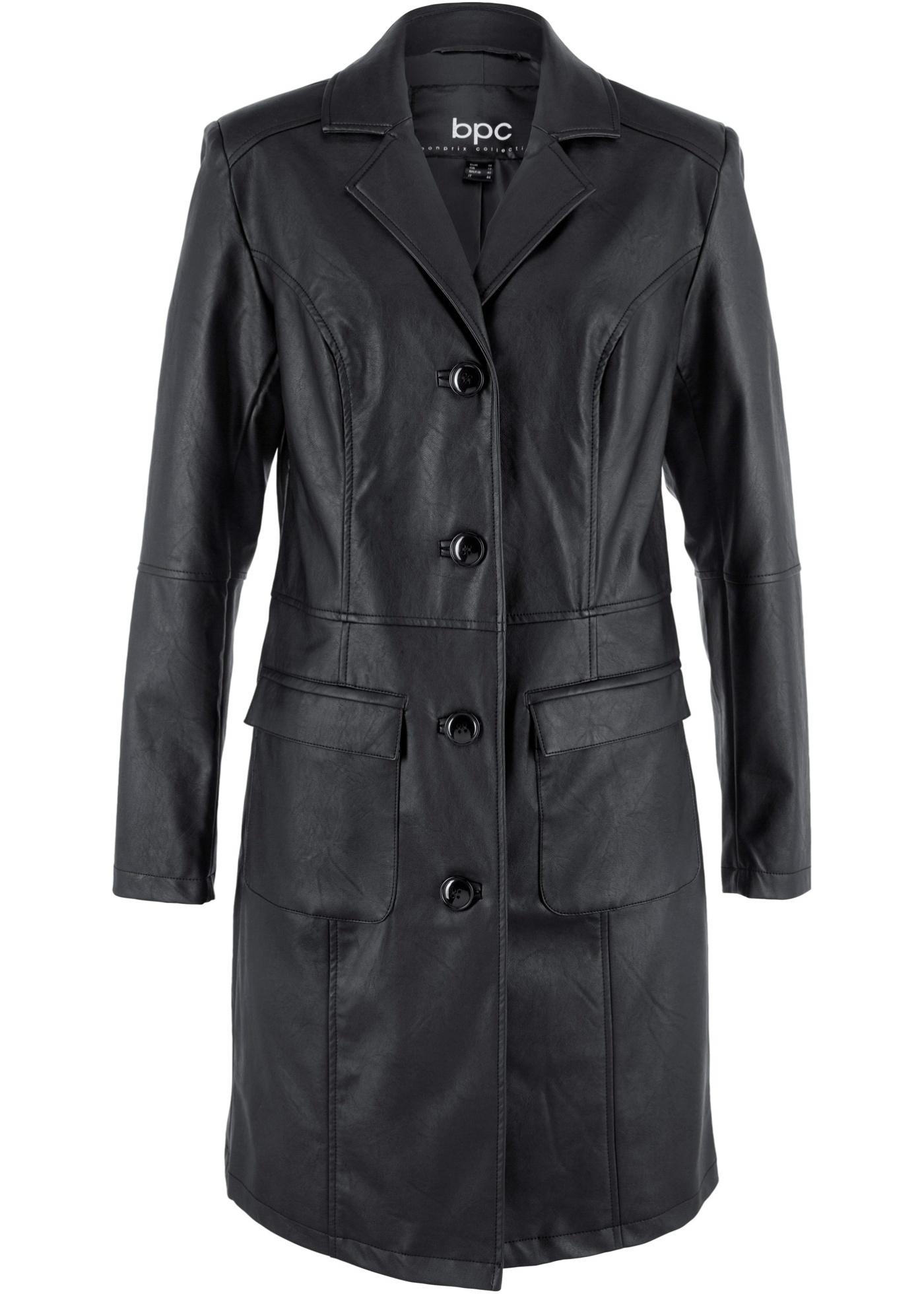 Manteau synthétique imitation cuir avec revers, cintré