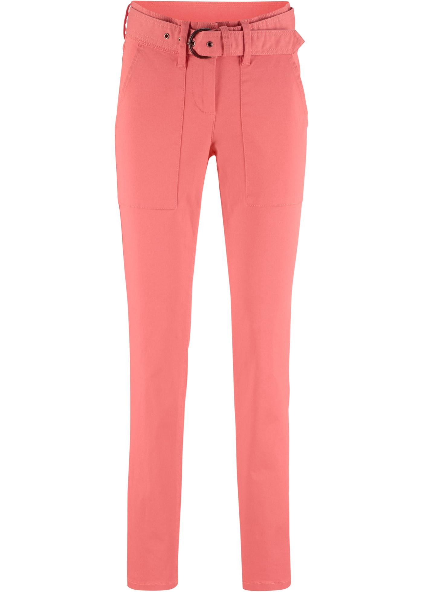 Pantalon avec ceinture en tissu, Slim Fit