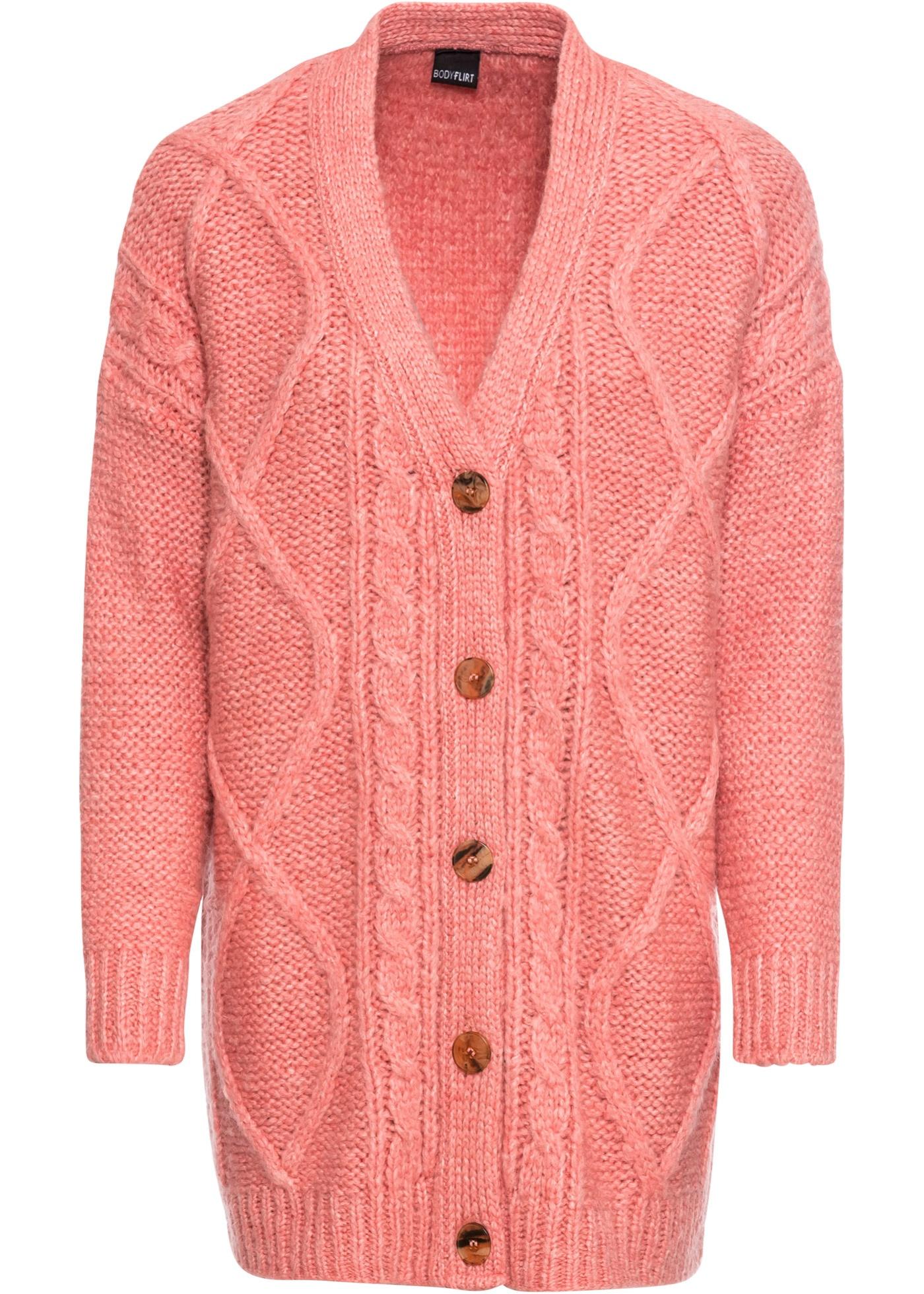Joli gilet en maille oversize à motif torsadé de Bodyflirt. Bordures en tricot aux poignets et à la base. Long. env. 76 cm.