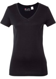T-shirt col V, bpc bonprix collection, noir