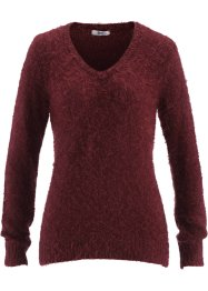 Pull col V en maille duveteuse, bpc bonprix collection