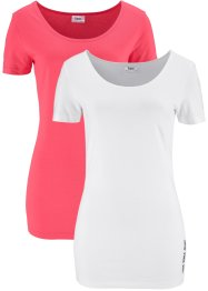 Lot de 2 T-shirts, bpc bonprix collection, fuchsia clair/blanc