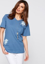 T-shirt long, bpc selection, bleu jean imprimé