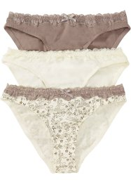 Lot de 3 slips avec dentelle, bpc bonprix collection