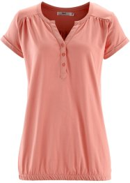 T-shirt avec patte de boutonnage, bpc bonprix collection, corail clair