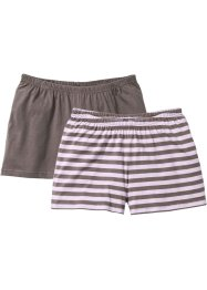 Lot de 2 shorts en coton bio, bpc bonprix collection, marron moyen/mauve
