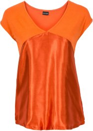 T-shirt à empiècement satin, BODYFLIRT, rouge orangé