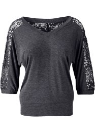 Top manches 3/4, BODYFLIRT, anthracite chiné