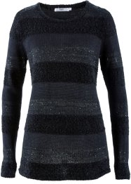 Pull à paillettes, bpc bonprix collection, noir rayé