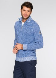 Pull camionneur Regular Fit, bpc bonprix collection, bleu/blanc chiné