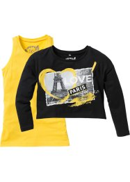T-shirt boxy + top (Ens. 2 pces.), bpc bonprix collection, jaune tulipe/noir imprimé