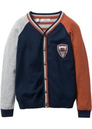 Cardigan en maille color block, bpc bonprix collection, bleu foncé/gris clair/cannelle