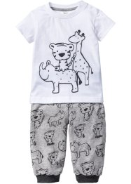 T-shirt bébé + pantalon (Ens. 2 pces.) en coton bio, bpc bonprix collection, anthracite chiné/gris clair chiné