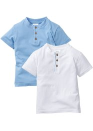 Lot de 2 T-shirts, bpc bonprix collection, bleu clair + blanc
